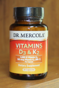 Vitamin D3 and K2 supplement bottle